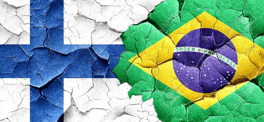 58372295 finland flag with brazil flag on a grunge cracked wall